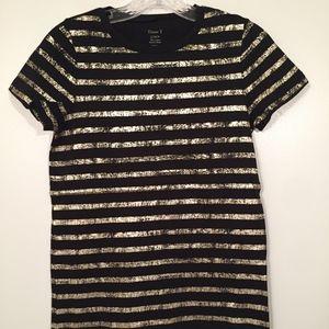 NWT J. Crew Women Black Gold Stripe Short Sleeve T